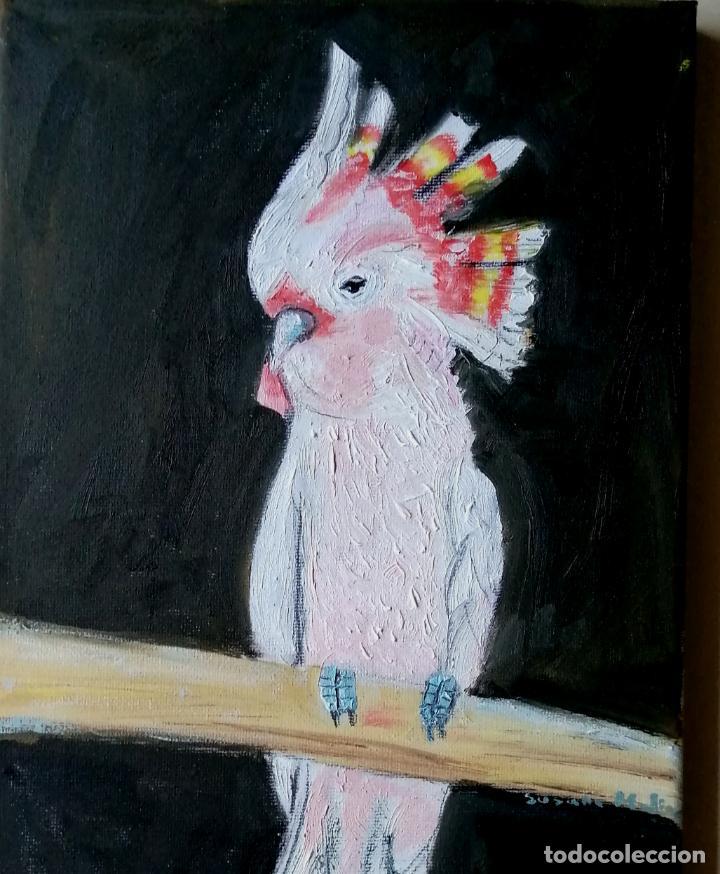 Arte: Cuadro, cacatúa rosa. Pintura óleo sobre tablex entelado. - Foto 4 - 217734785