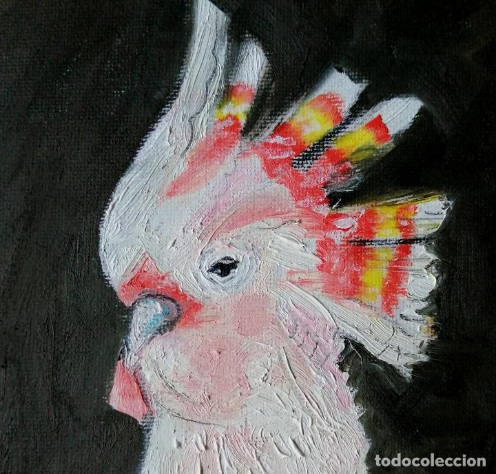 Arte: Cuadro, cacatúa rosa. Pintura óleo sobre tablex entelado. - Foto 6 - 217734785