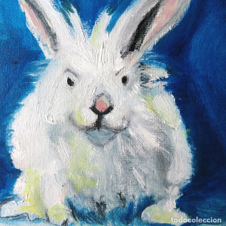 Arte: Cuadro, conejo blanco Pintura óleo sobre tablex entelado. - Foto 2 - 217740840