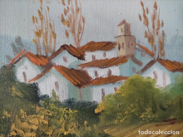 Arte: ANTIGUA PINTURA OLEO BASTIDOR LIENZO MARCO MADERA GRAN TAMAÑO PAN DE ORO FIRMADO 93X72X5 - Foto 8 - 217744793