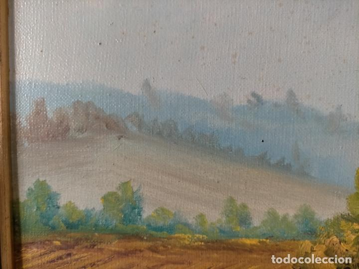 Arte: ANTIGUA PINTURA OLEO BASTIDOR LIENZO MARCO MADERA GRAN TAMAÑO PAN DE ORO FIRMADO 93X72X5 - Foto 14 - 217744793