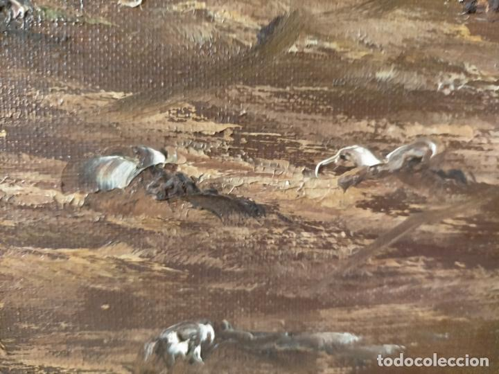 Arte: ANTIGUA PINTURA OLEO BASTIDOR LIENZO MARCO MADERA GRAN TAMAÑO PAN DE ORO FIRMADO 93X72X5 - Foto 15 - 217744793