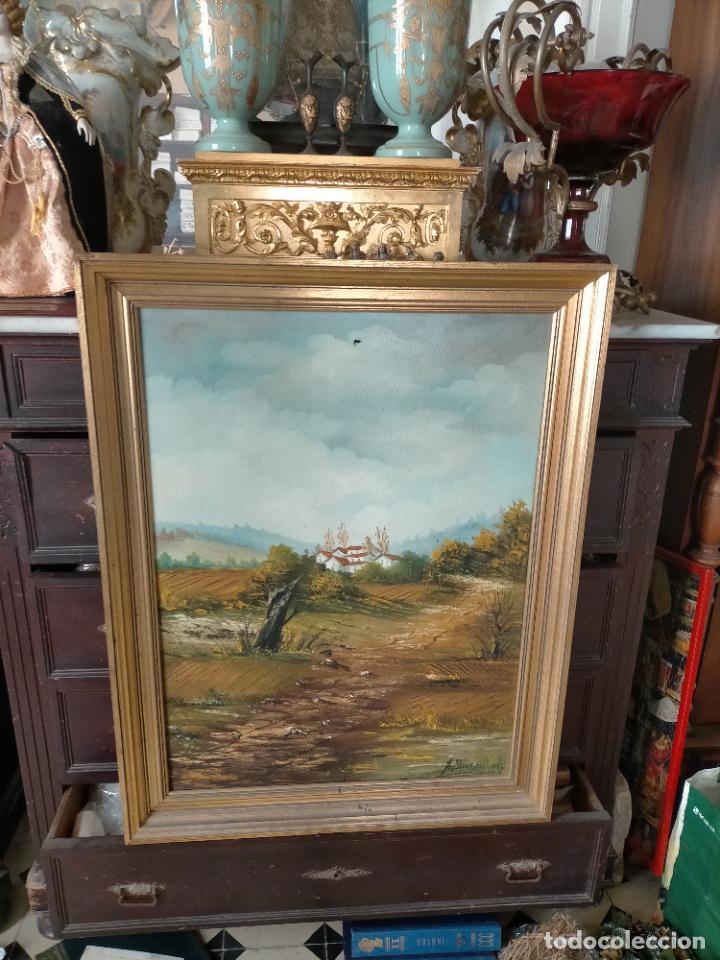 ANTIGUA PINTURA OLEO BASTIDOR LIENZO MARCO MADERA GRAN TAMAÑO PAN DE ORO FIRMADO 93X72X5 (Arte - Pintura - Pintura al Óleo Antigua sin fecha definida)