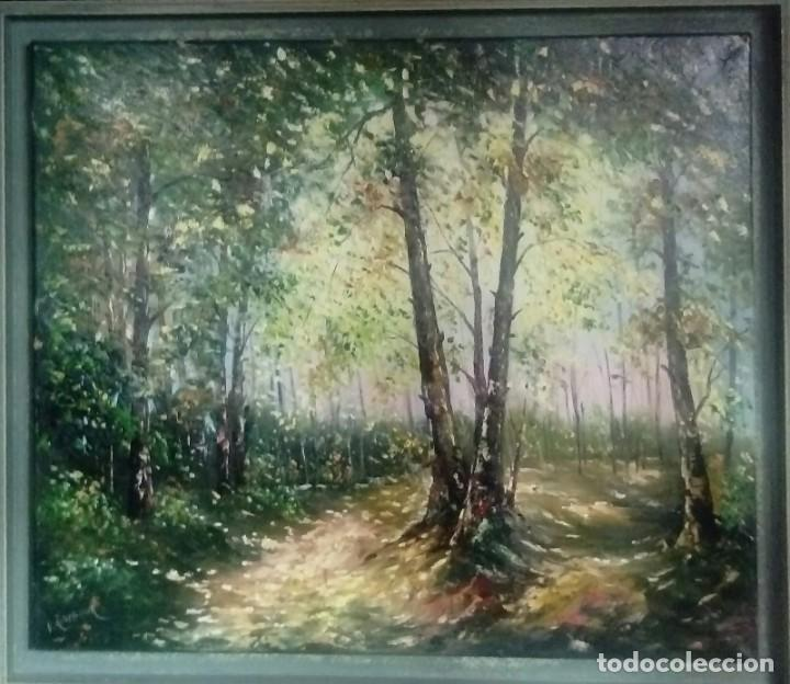 OLEO SOBRE LIENZO BOSQUE DE ABEDULES (Arte - Pintura Directa del Autor)