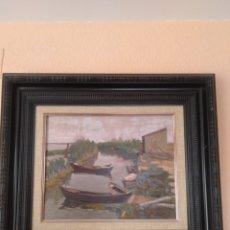 Arte: BARCAS EN LA ALBUFERA 1986. OLEO FIRMADO J. ESTEVE. MEDIDAS 56X64. Lote 217834685