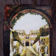 Arte: HERMOSA PINTURA CALLE DE CONTRASTES ÓLEO SOBRE PAPEL ESPECIAL PARA DIBUJO. 40.4CM X 29.4CM. Lote 217890686