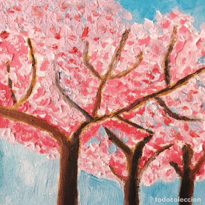 Arte: Cuadro, Pintura óleo sobre tablex entelado, 40 x 30 cmtrs. Cerezos. - Foto 2 - 217914431