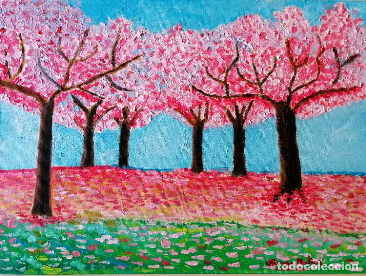 Arte: Cuadro, Pintura óleo sobre tablex entelado, 40 x 30 cmtrs. Cerezos. - Foto 3 - 217914431