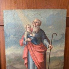Art: ÓLEO SOBRE TABLA REPRESENTANDO UN SAN JOSÉ CON NIÑO, S.XIX. Lote 217916125