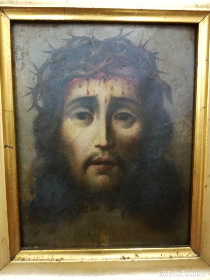 Arte: Magnifica cabeza de cristo pintado en cobre - Foto 2 - 217942812