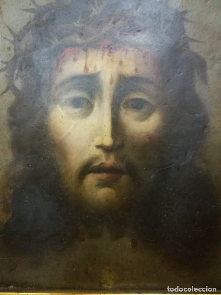 Arte: Magnifica cabeza de cristo pintado en cobre - Foto 3 - 217942812