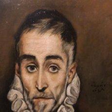 Arte: ARTE COLECCIONABLE. EXTRAORDINARIO ÓLEO COPIA DEL CABALLERO ANCIANO DEL GRECO. NINA PUIG 20/06/1966. Lote 218065788