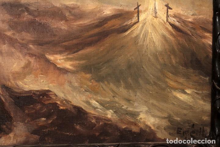Arte: OLEO SOBRE LIENZO MONTE DEL CALVARIO, FIRMA ILEGIBLE. ENMARCADO. - Foto 4 - 164634452