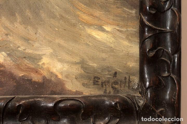 Arte: OLEO SOBRE LIENZO MONTE DEL CALVARIO, FIRMA ILEGIBLE. ENMARCADO. - Foto 5 - 164634452