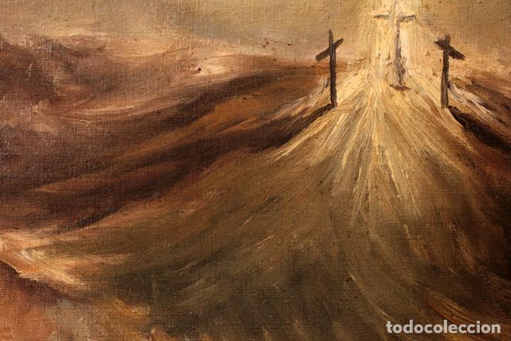 Arte: OLEO SOBRE LIENZO MONTE DEL CALVARIO, FIRMA ILEGIBLE. ENMARCADO. - Foto 7 - 164634452