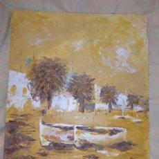 Arte: ÓLEO SOBRE TABLA BARCAS EN LA PLAYA PALMERAS AMARILLO BONITO PRECIOSO SIN FIRMA APARENTE. Lote 218108461