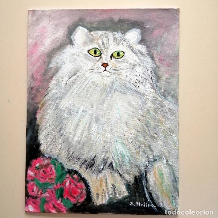 Arte: Cuadro, Pintura óleo sobre tablex entelado, gato persa blanco. 40 x 30 cmtrs. - Foto 4 - 218108752