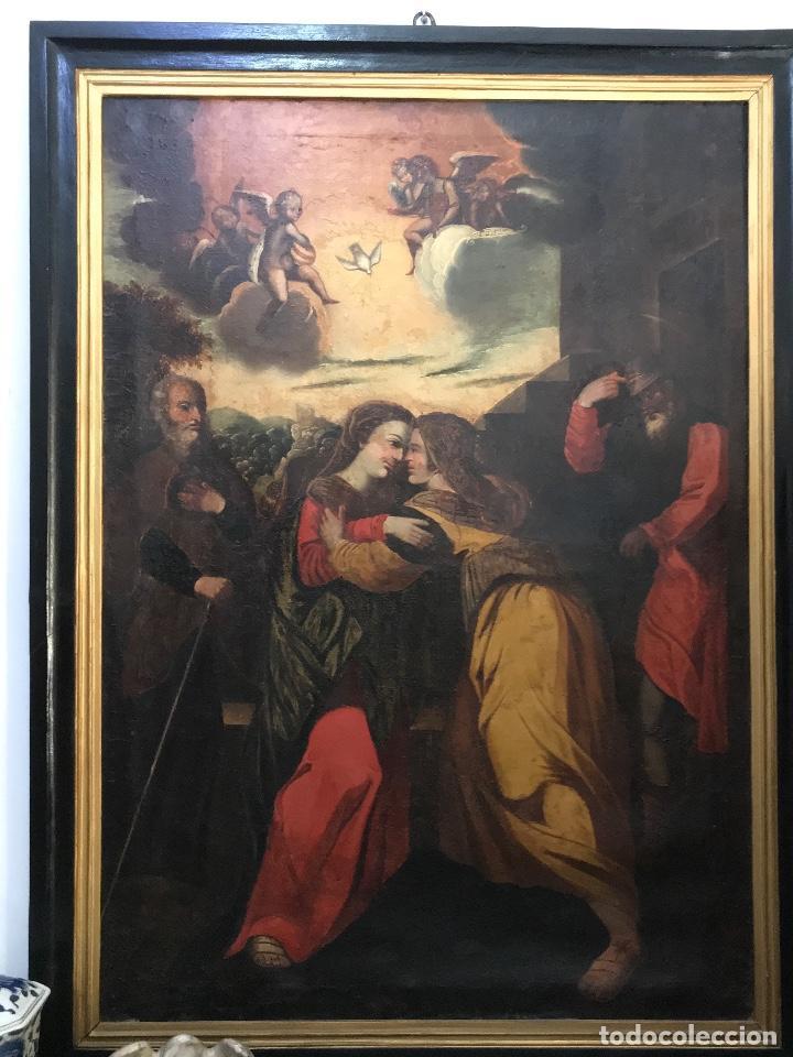 """ÓLEO DE GRANDES DIMENSIONES DEL SIGLO XVIII """"LA VISITACIÓN"""" (Arte - Pintura - Pintura al Óleo Antigua siglo XVIII)"""