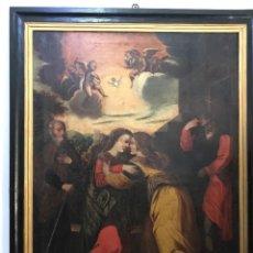 """Arte: ÓLEO DE GRANDES DIMENSIONES DEL SIGLO XVIII """"LA VISITACIÓN"""". Lote 218108845"""