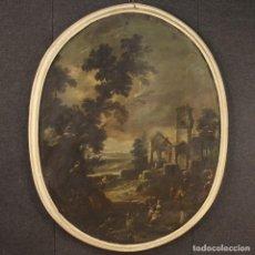 Arte: CUADRO OVALADO ITALIANO ANTIGUO DE PAISAJE CON PERSONAJES Y RUINAS DEL SIGLO XVIII. Lote 218109887