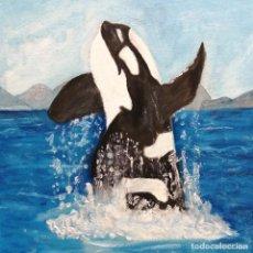 Arte: CUADRO, PINTURA ÓLEO BALLENA ORCA. 40 X 30 CMTRS.. Lote 218119670