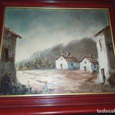 Arte: OLEO SOBRE TABLA FIRMADO REYES PAISAJE RÚSTICO CASA PUEBLO SIN MAS DATOS. Lote 218149275