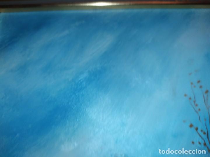 Arte: OLEO SOBRE TABLA FIRMADO MOREY ? PAISAJE MONTAÑA LAGO ÁRBOLES SIN MAS DATOS - Foto 6 - 218152790
