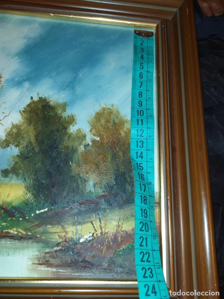 Arte: OLEO SOBRE TABLA FIRMADO MOREY ? PAISAJE MONTAÑA LAGO ÁRBOLES SIN MAS DATOS - Foto 10 - 218152790