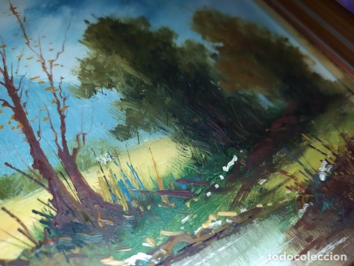 Arte: OLEO SOBRE TABLA FIRMADO MOREY ? PAISAJE MONTAÑA LAGO ÁRBOLES SIN MAS DATOS - Foto 13 - 218152790