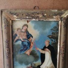 Arte: BONITO CUADRO RELIGIOSO PINTADO EN CRISTAL. Lote 218192171