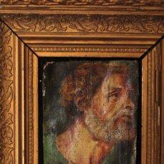 Arte: INTERESANTE FRAGMENTO DE OBRA AL OLEO SOBRE LIENZO, RETRATO MASCULINO, 9X13CM, SIN CONTAR MARCO. Lote 149603205