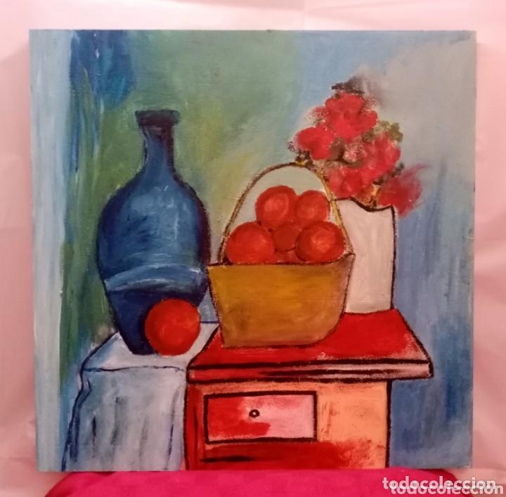 Arte: Hermosa pintura bodegón con colores encendidos, muy fresco. Técnica mixta sobre tabla. 40cm x 40cm. - Foto 2 - 218291115