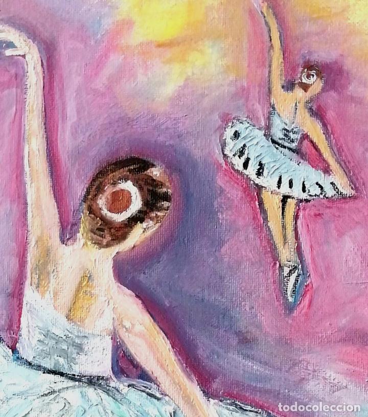 Arte: Cuadro, bailarinas, Pintura óleo sobre tela 40 x 30 cmtrs. Firmado. - Foto 2 - 218296087