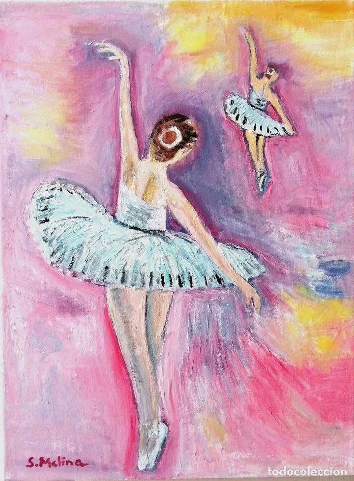 Arte: Cuadro, bailarinas, Pintura óleo sobre tela 40 x 30 cmtrs. Firmado. - Foto 3 - 218296087