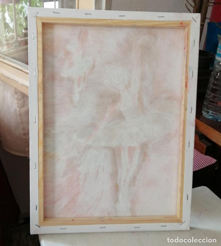 Arte: Cuadro, bailarinas, Pintura óleo sobre tela 40 x 30 cmtrs. Firmado. - Foto 5 - 218296087