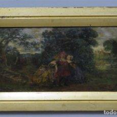 Arte: ESCENA EN JARDIN. OLEO S/ TABLA. MANUEL LOPEZ DE AYALA (1869-1920). OLEO S/ TABLA. Lote 218324328