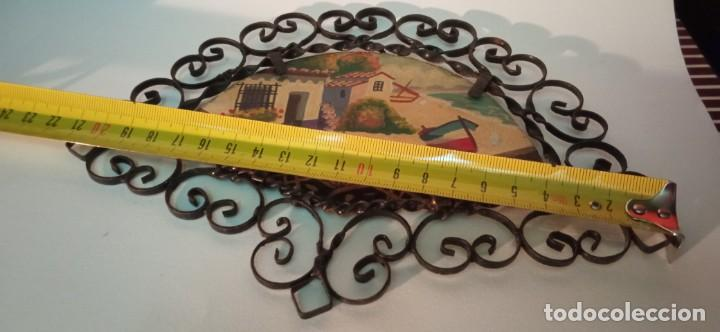 Arte: bonita pintura sobre tablex montada en marco abanico hierro forjado - Foto 7 - 218344745