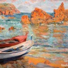 Arte: FRANCISCO VIDAL PALMADA (GERONA, 1894 - 1958) OLEO SOBRE TELA. LAS ISLAS MEDAS (COSTA BRAVA). Lote 218354978