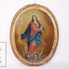 Arte: ANTIGUA PINTURA AL ÓLEO SOBRE VIDRIO DEL SIGLO XVIII - INMACULADA CONCEPCIÓN / VIRGEN - 39 X 49 CM. Lote 218368082