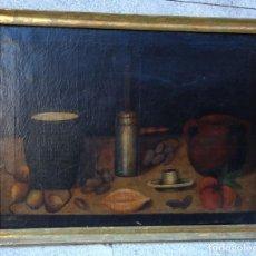 Arte: CUADRO ANTIGUO, BODEGON LA HORA DEL CHOCOLATE. Lote 218381445