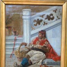 Arte: OLEO SOBRE TELA PERSONAJE FIRMADO L. CARDENAL 1889. Lote 218405990