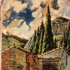 Arte: J.PUCHADES, OLEO SOBRE LIENZO, VISTA DE PUEBLO. 50X65CM. Lote 218446722