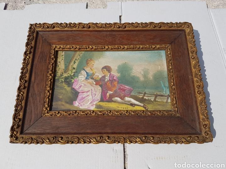 Arte: Cuadro antiguo escena galante siglo XVIII XIX aprox - Foto 2 - 218447715