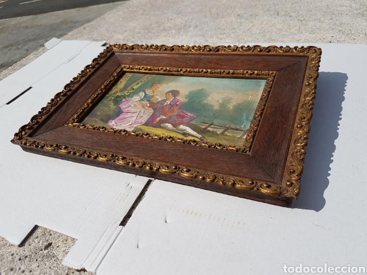 Arte: Cuadro antiguo escena galante siglo XVIII XIX aprox - Foto 5 - 218447715
