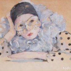 Arte: MARIA ROSA NIN PAIRÓ (SABADELL, 1933) TECNICA MIXTA SOBRE CARTULINA. ARLEQUIN. Lote 218456561