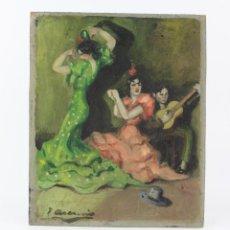Arte: JOAQUIN ASENSIO, BAILAORAS DE FLAMENCO, PINTURA AL ÓLEO SOBRE TABLA, FIRMADA. 21X25,5CM. Lote 218477510