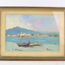 Arte: JOAQUIN ASENSIO, PLAYA CON BARCAS Y PUEBLO, PINTURA AL ÓLEO SOBRE TABLA, FIRMADA, CON MARCO. 22X15CM. Lote 218477795