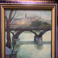 Arte: OLEO LIENZO PARIS CITÉ VUE PONT DES ARTS LUIS QUINTANILLA ISASI SANTANDER CANTABRIA AÑOS 30 40 79X68. Lote 218522772