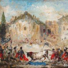 Art: ESCENA TAURINA. JUAN ROIG Y SOLER (BARCELONA 1852-1909). ÓLEO SOBRE TABLA. MED: 61 X 37 CM.. Lote 218544706