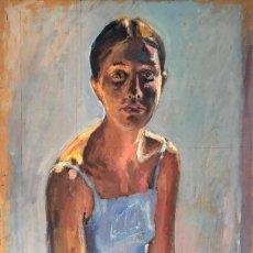 Arte: RAMON MOSCARDÓ (1953) - MUJER CON VESTIDO AZUL - ÓLEO TABLA. Lote 218553647